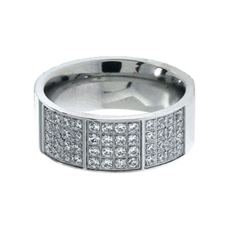 Multi CZ Stainless Steel Ring