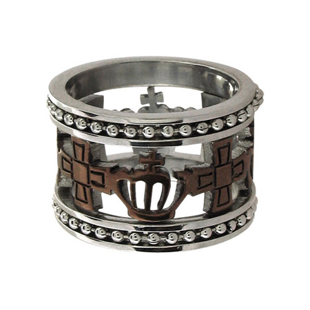 Crowns and Crosses Ring with PVD Cappuccino - Stainless Steel