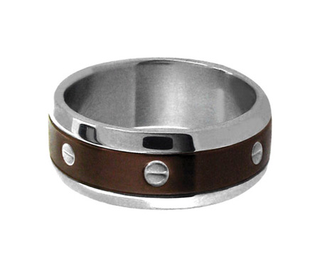 Ring with PVD Cappuccino - Stainless Steel