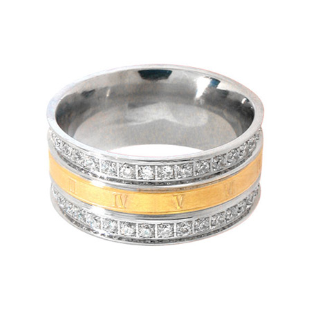 IP Gold Accented Ring - Stainless Steel