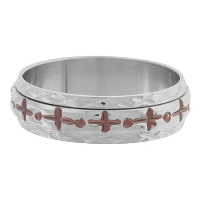 Fleur di Lis Spinner Ring with PVD Cappuccino - Stainless Steel