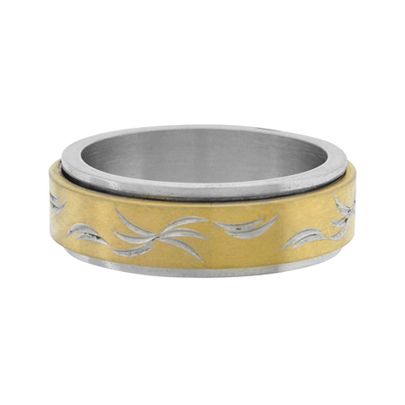 Spinner Ring with PVD Gold - Stainless Steel