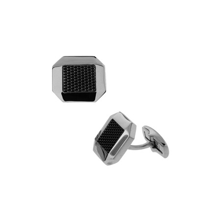 Carbon Fiber Cufflinks - Stainless Steel
