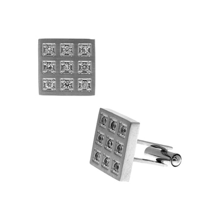 Square Cufflinks with CZs - Stainless Steel