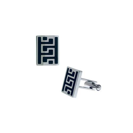 Greek Key Cufflinks with CZs - Stainless Steel