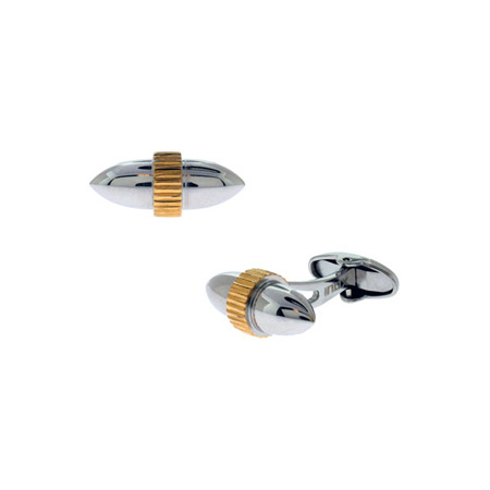 Round Cufflinks with PVD Gold - Stainless Steel