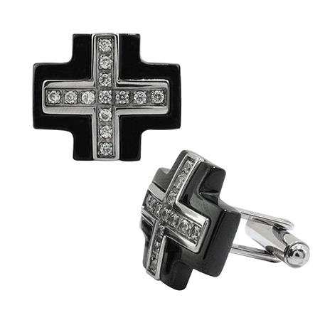 Greek Cross Cufflinks with CZs - Stainless Steel