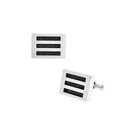 Black Cable Cufflinks - Stainless Steel