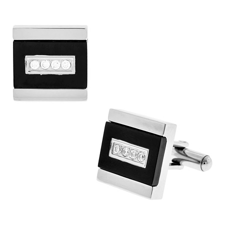 Midnight Cufflinks with CZs - Stainless Steel