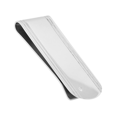 Classic Gem Money Clip with CZs - Stainless Steel