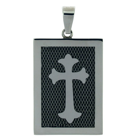 2in Stainless Steel Mesh Cross Dog Tag
