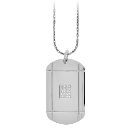 CZ Dog Tag Pendant - Stainless Steel
