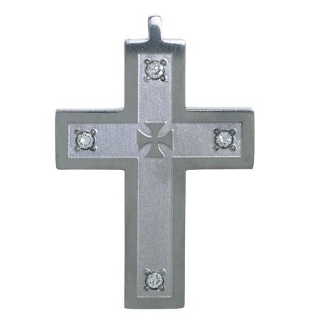 2in Steel Cross with Cubic Zirconias