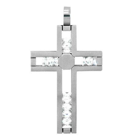 Stainless Steel 3in Cross with Movable CZs