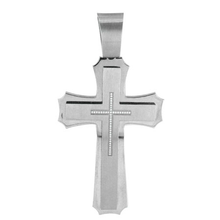 Jumbo 4 1/2in Steel Cross with Cubic Zirconias