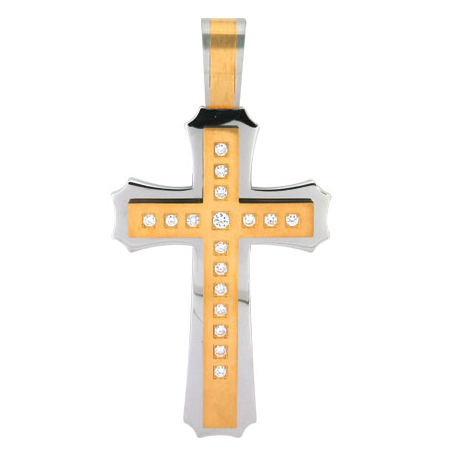 Jumbo 4 1/2in Gold-Plated Steel Cross with Cubic Zirconias