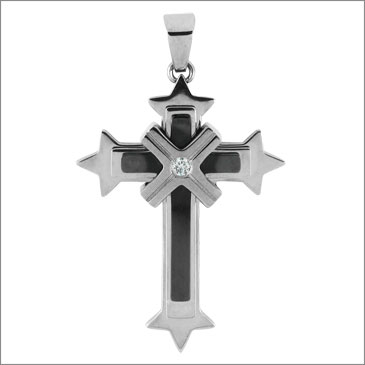 2 1/2in Steel Cross with Cubic Zirconia