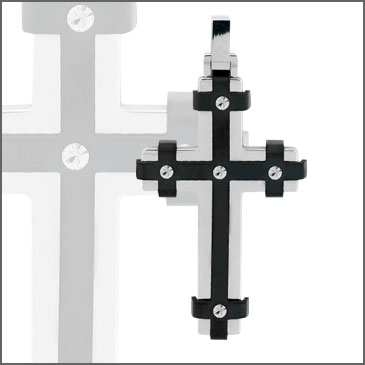 2 1/2in Steel Cross with Black Bands