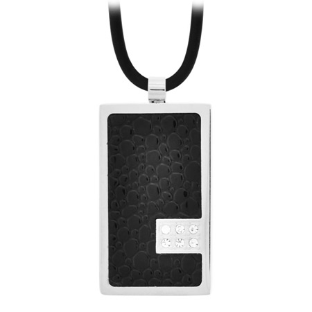 Midnight CZ Dog Tag Pendant - Stainless Steel
