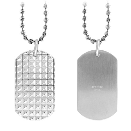 Pyramid Dog Tag Pendant - Stainless Steel