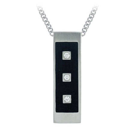 Midnight CZ Bar Pendant - Stainless Steel