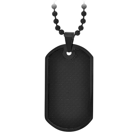 Midnight Dog Tag Pendant - Stainless Steel