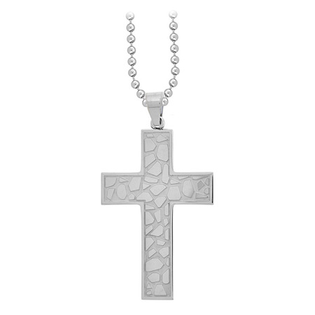 Cobblestone Cross Pendant - Stainless Steel