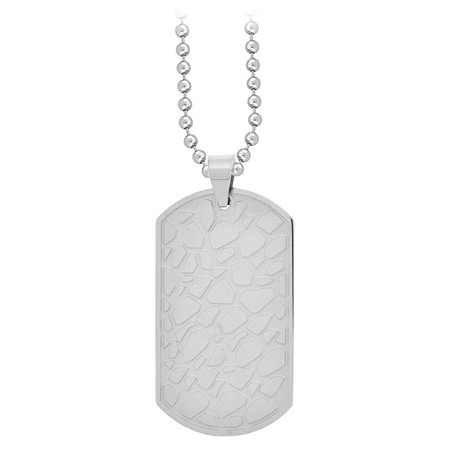 Cobblestone Dog Tag Pendant - Stainless Steel