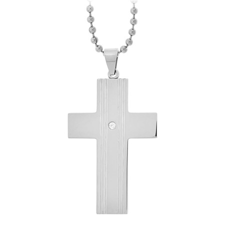 Classic Gem Cross with CZs - Stainless Steel