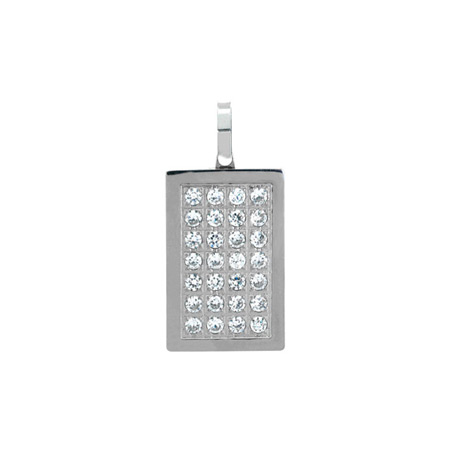 Multi CZ Dog Tag Pendant - Stainless Steel