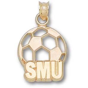 SMU 5/8in Soccer Pendant 14kt Yellow Gold