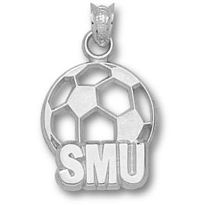 SMU 5/8in Soccer Pendant Sterling Silver