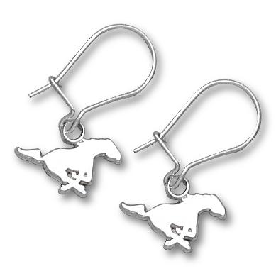Sterling Silver 1/4in SMU Mustang Dangle Earrings