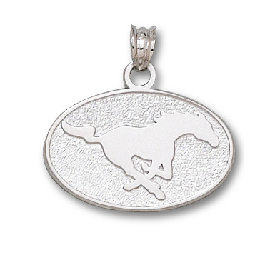 Sterling Silver 9/16in SMU Mustang Oval Pendant
