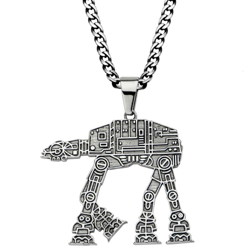 Stainless Steel Star Wars At-At Walker Pendant on 22in Chain