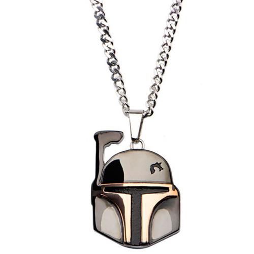 Stainless Steel Star Wars Boba Fett Pendant on 22in Chain