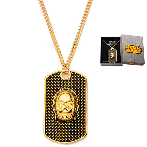 Stainless Steel Star Wars Gold-plated C-3PO Face Dog Tag Pendant with 22in Chain