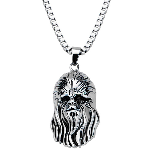 Stainless Steel Star Wars Chewbacca Head Pendant on 22in Chain