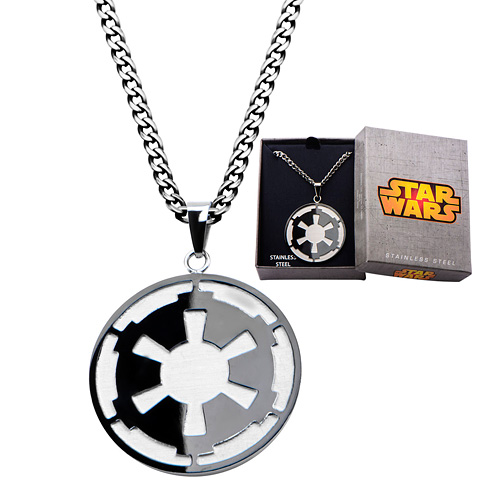 Stainless Steel Star Wars Galatic Empire and Death Star Etched Pendant with 22in Chain