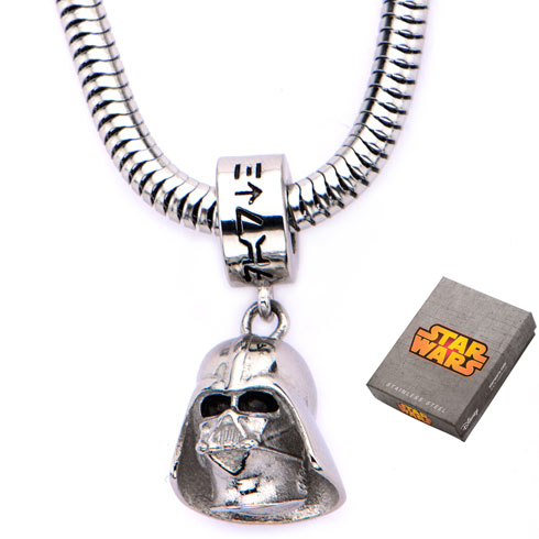 Stainless Steel Star Wars Darth Vader Charm on 16in Chain