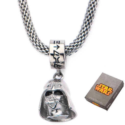 Stainless Steel Star Wars Darth Vader Charm on Mesh 16in Chain