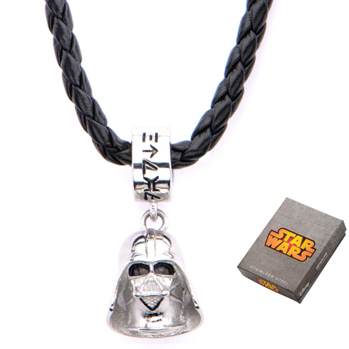 Stainless Steel Star Wars Darth Vader Charm on Leather 16in Chain