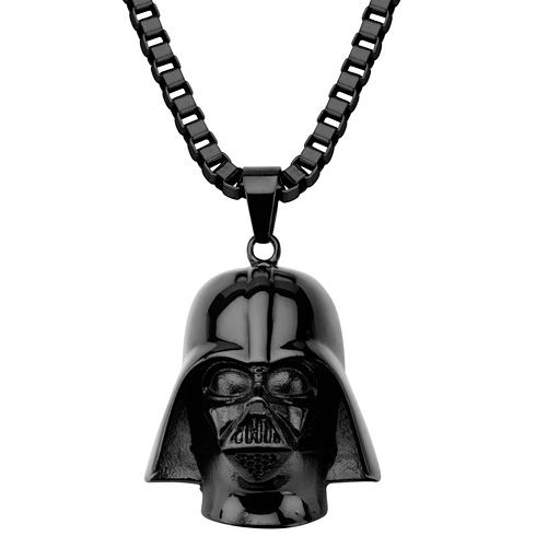 Stainless Steel Black Star Wars 3D Darth Vader Pendant on 22in Chain