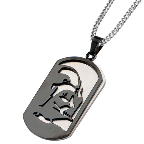 Stainless Steel Darth Vader Layer Dog Tag Pendant on 22in Chain