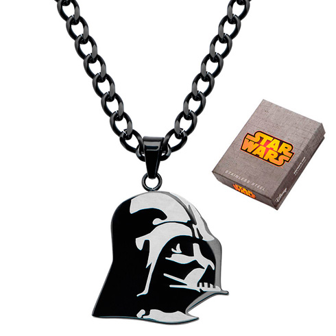 Stainless Steel Black Star Wars Etched Darth Vader Pendant on 22in Chain
