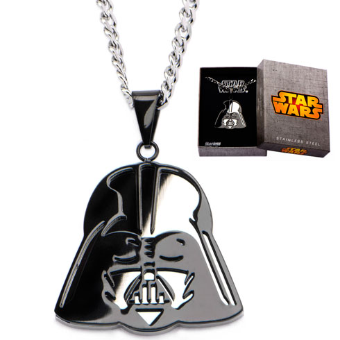 Black-plated Stainless Steel Darth Vader Mirror Pendant on 24in Chain