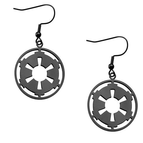 Stainless Steel Star Wars Galactic Empire Symbol Drop Earrings