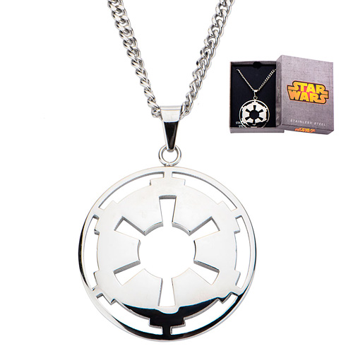 Stainless Steel Star Wars Galatic Empire Symbol Cut Out Pendant on 22in Chain