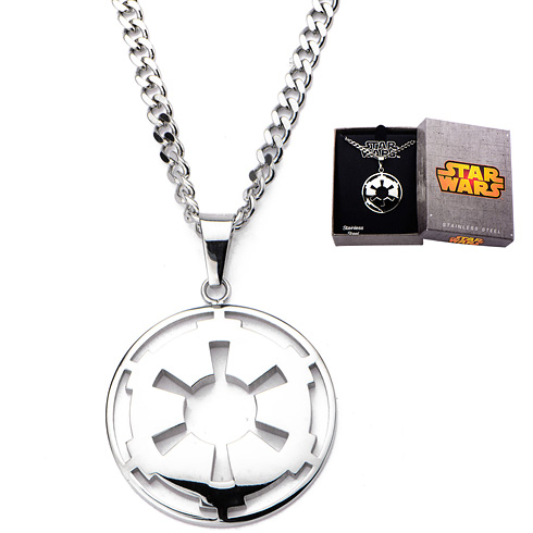 Stainless Steel Star Wars Small Galatic Empire Symbol Cut Out Pendant with Chain