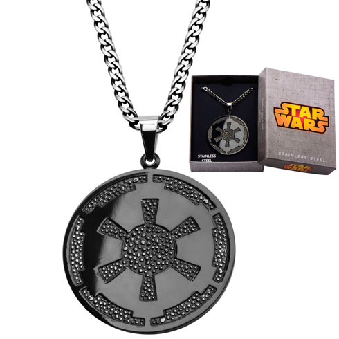 Stainless Steel Star Wars Galatic Empire Symbol Gun Metal Finish Pendant with 22in Chain